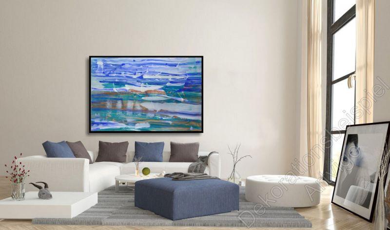 Modernes Wohnzimmer, Cremefarbene Wände. Dekoration Gemälde Grau Abstrakt